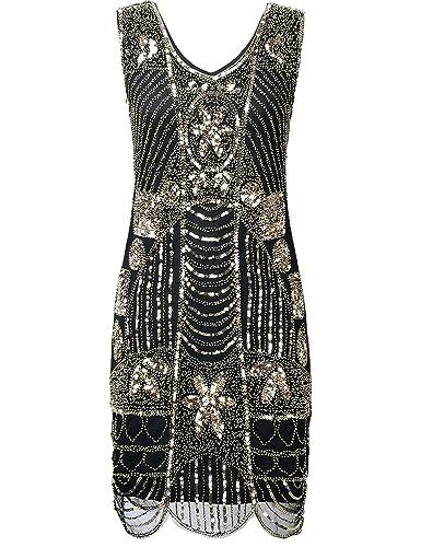 PrettyGuide Women's 1920s Gatsby Sequin Art Deco Scalloped Hem Cocktail Flapper Dress