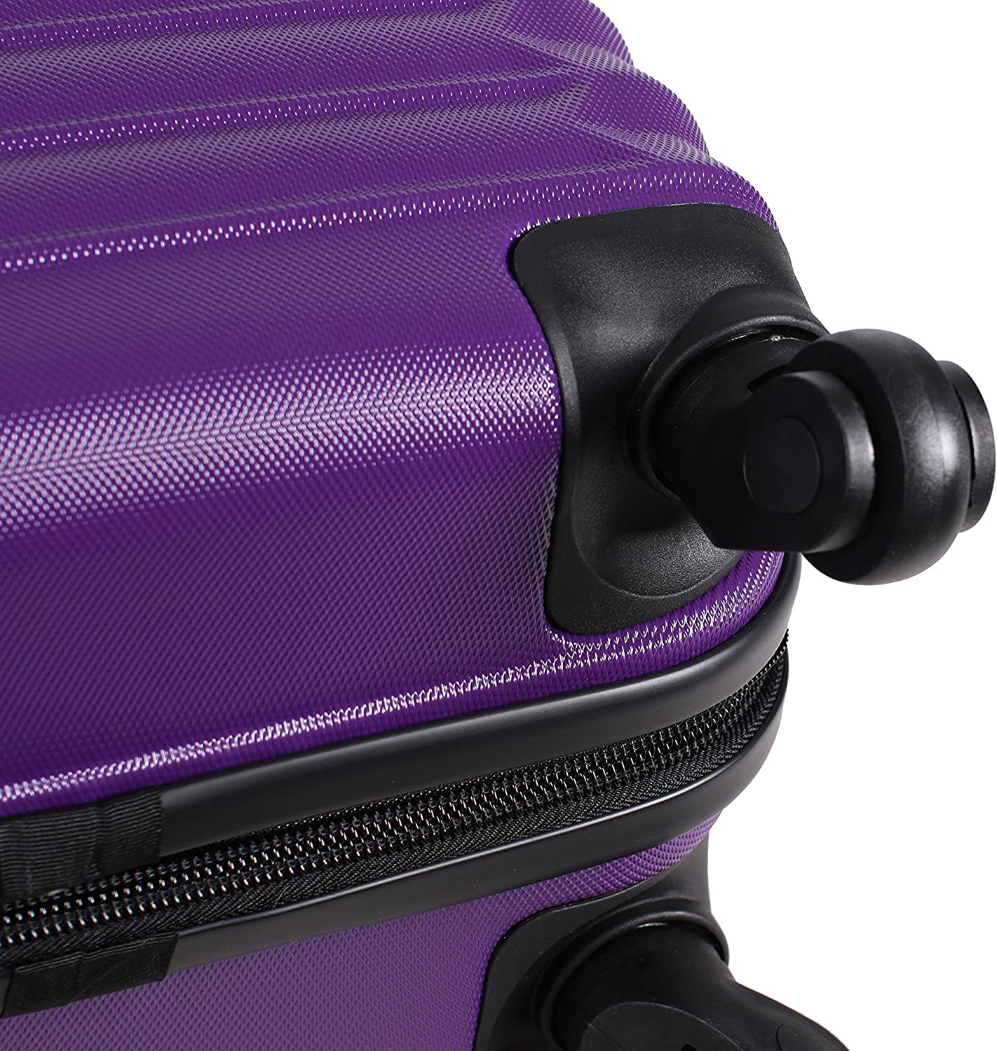 Ultra Lightweight Expandable Large Suitcase With Rolling 4-Spinner Wheels 24 Inch Scratch Resistant Hard Case Bag Lucas Treadlight Checked Luggage Collection Purple ABS + PC