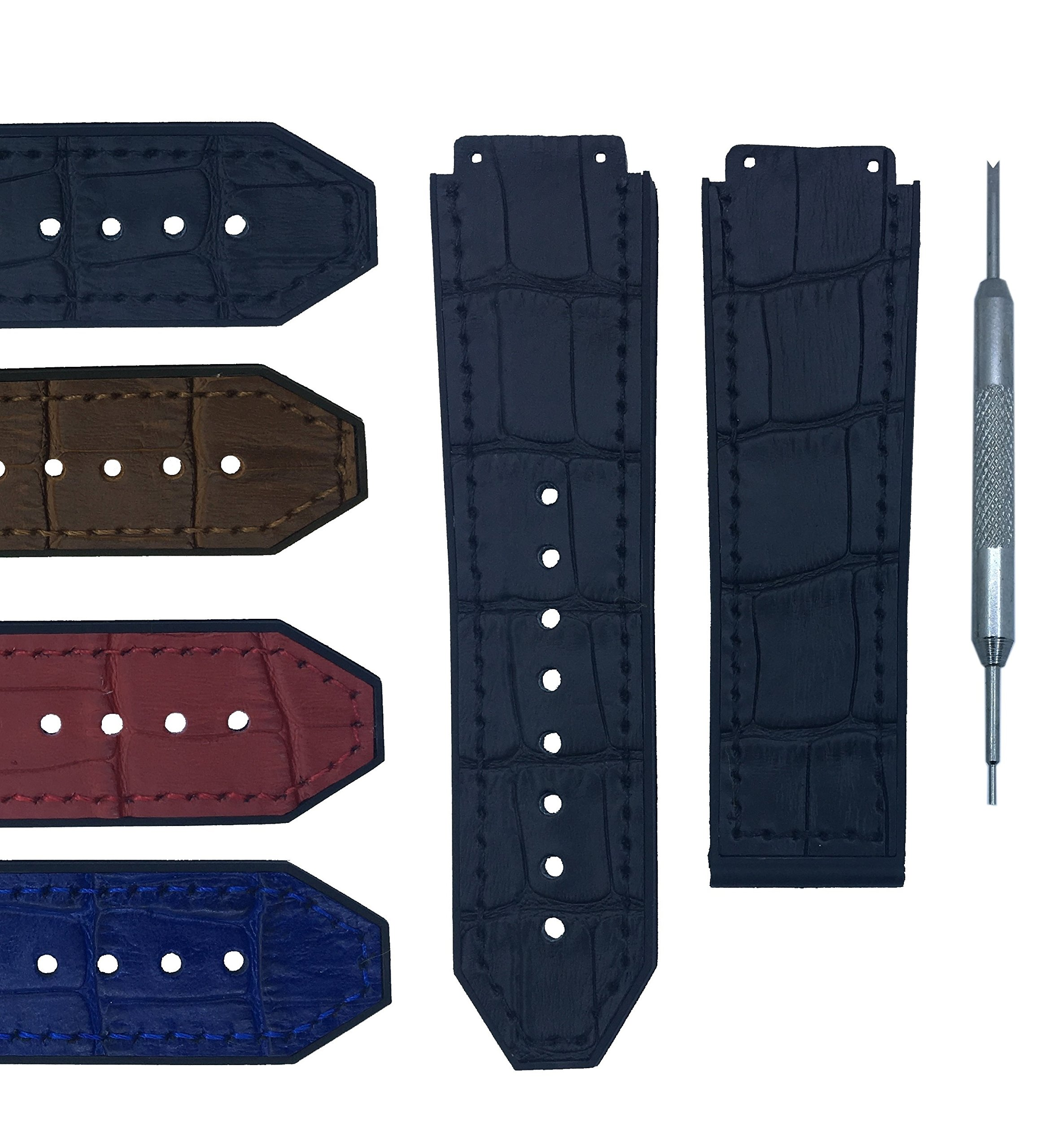 20x26mm Leather Watch Band Strap For Bigbang - Free Spring Bar Tool (20X26, Black)