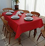 Red And White Polka Dot Vinyl Tablecloth 2mtrs X 135cm
