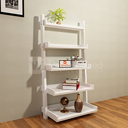 info for 71590 fc966 Driftingwood MDF Wood 5 Tier Ladder Shelf Bookcase for Living Room  |Bookcase Divider | White Finish