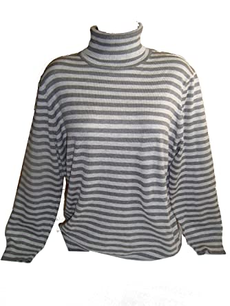 Joseph A Womens Solid Long Sleeve Turtleneck Sweater Grey Stripe