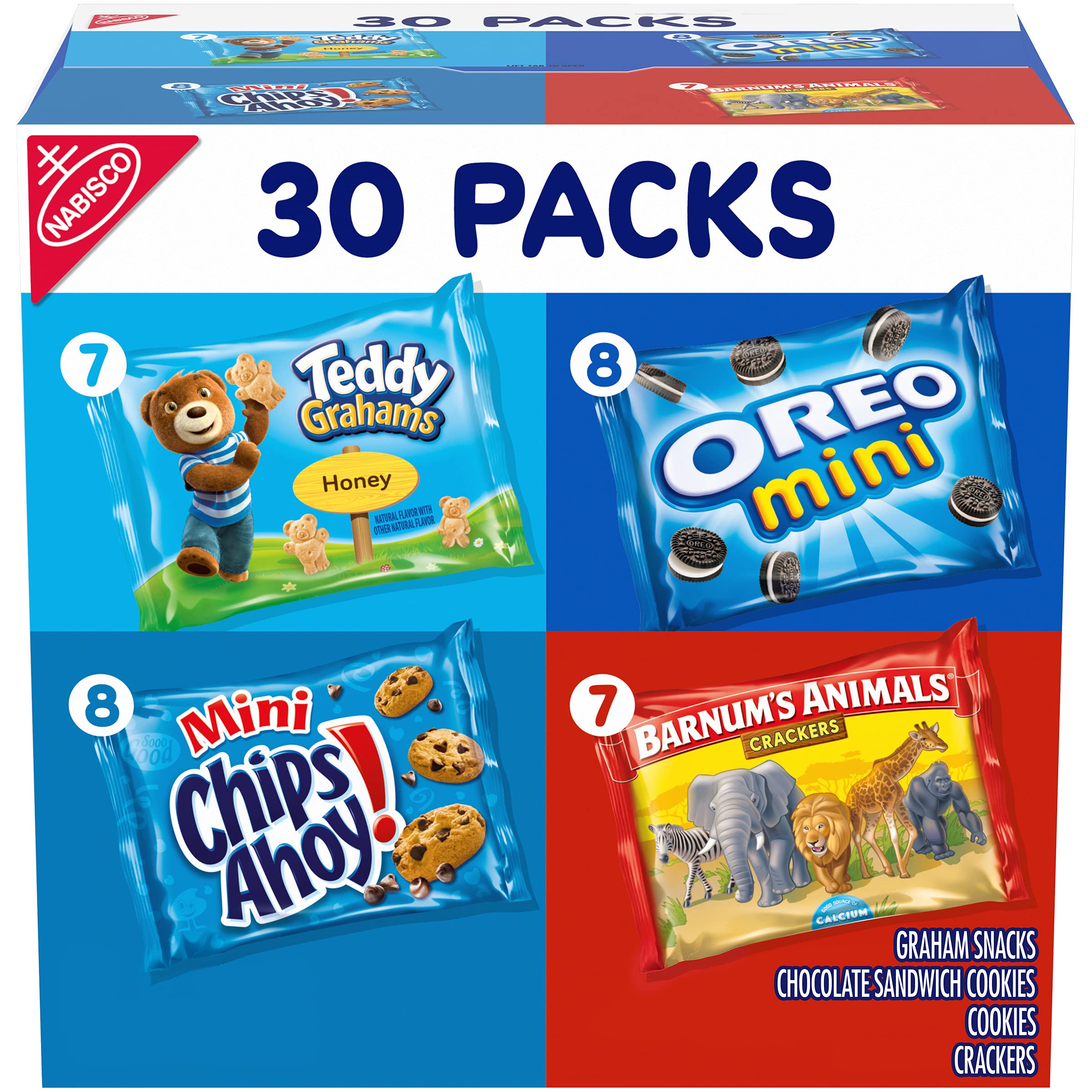 Nabisco Team Favorites Variety Pack, OREO Mini, CHIPS AHOY Mini, Teddy Grahams Honey & Barnum's Animal Crackers, 30 Snack Packs