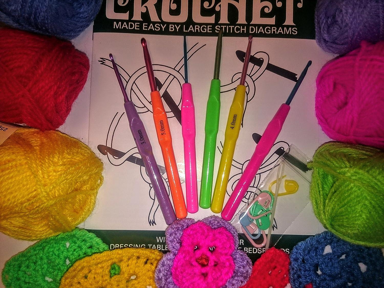 kit de iniciación mediante giro ganchillo - aprenden a ganchillo, gancho, libro de ovillo con la abuela de cuadros: Amazon.es: Bricolaje y herramientas