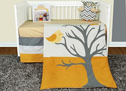 Snuggleberry Baby Nightie Night Owl 5 Piece Crib Bedding Set with Storybook