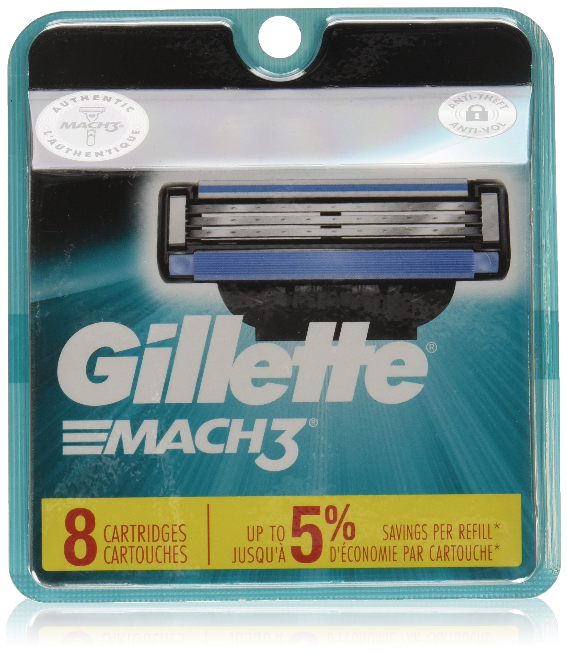 Gillette Mach3 Men's Razor Blades, 8 Blade Refills (Packaging May Vary) by Gillette (Image #1)