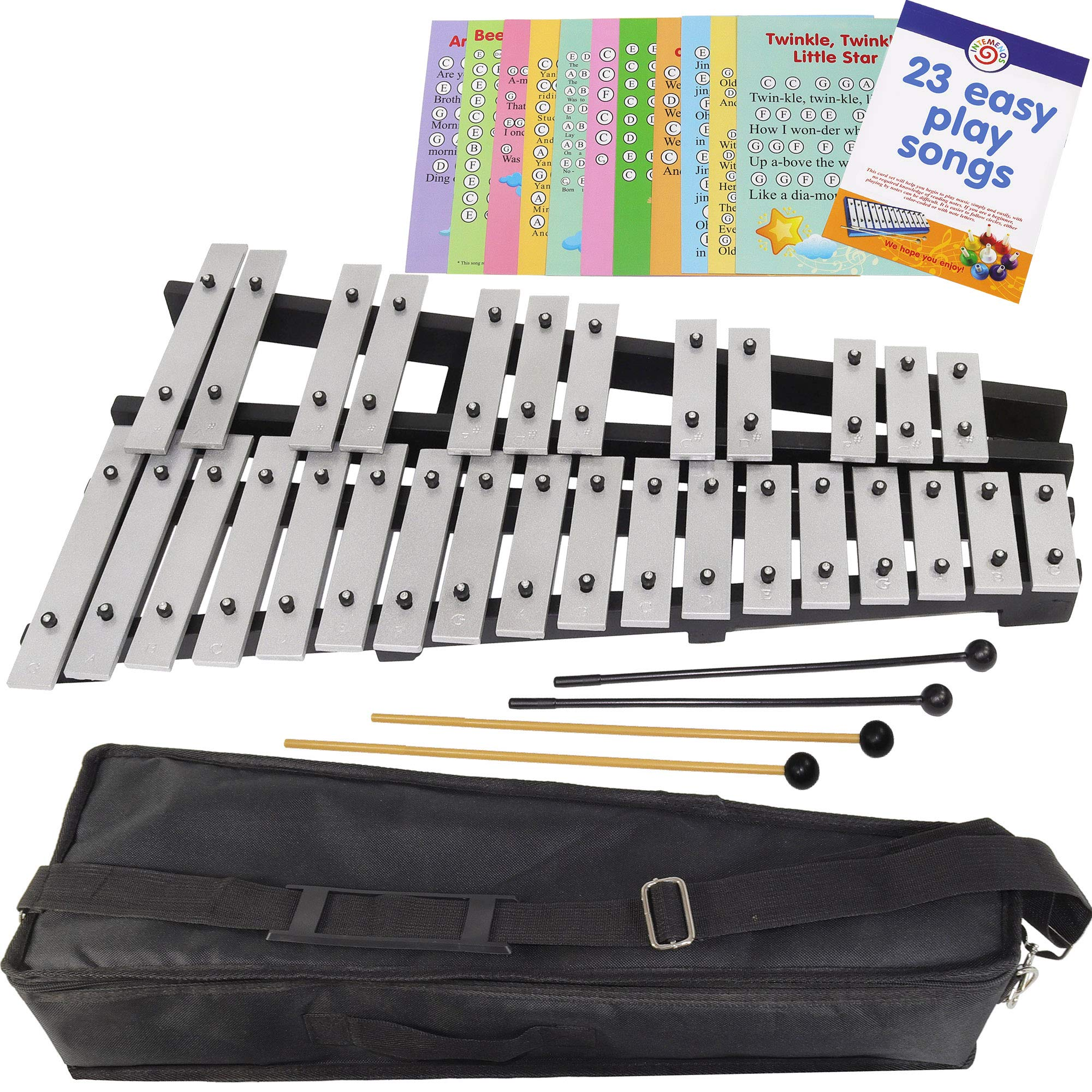 Foldable Xylophone Chromatic - 30 Note Glockenspiel - Bag - 4 Mallets - Music Notes Included by inTemenos