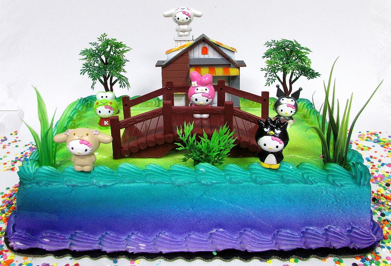 Amazon.com: Hello Kitty Birthday Cake Topper Set Featuring Hello ...