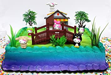 Amazoncom Hello Kitty Birthday Cake Topper Set Featuring Hello