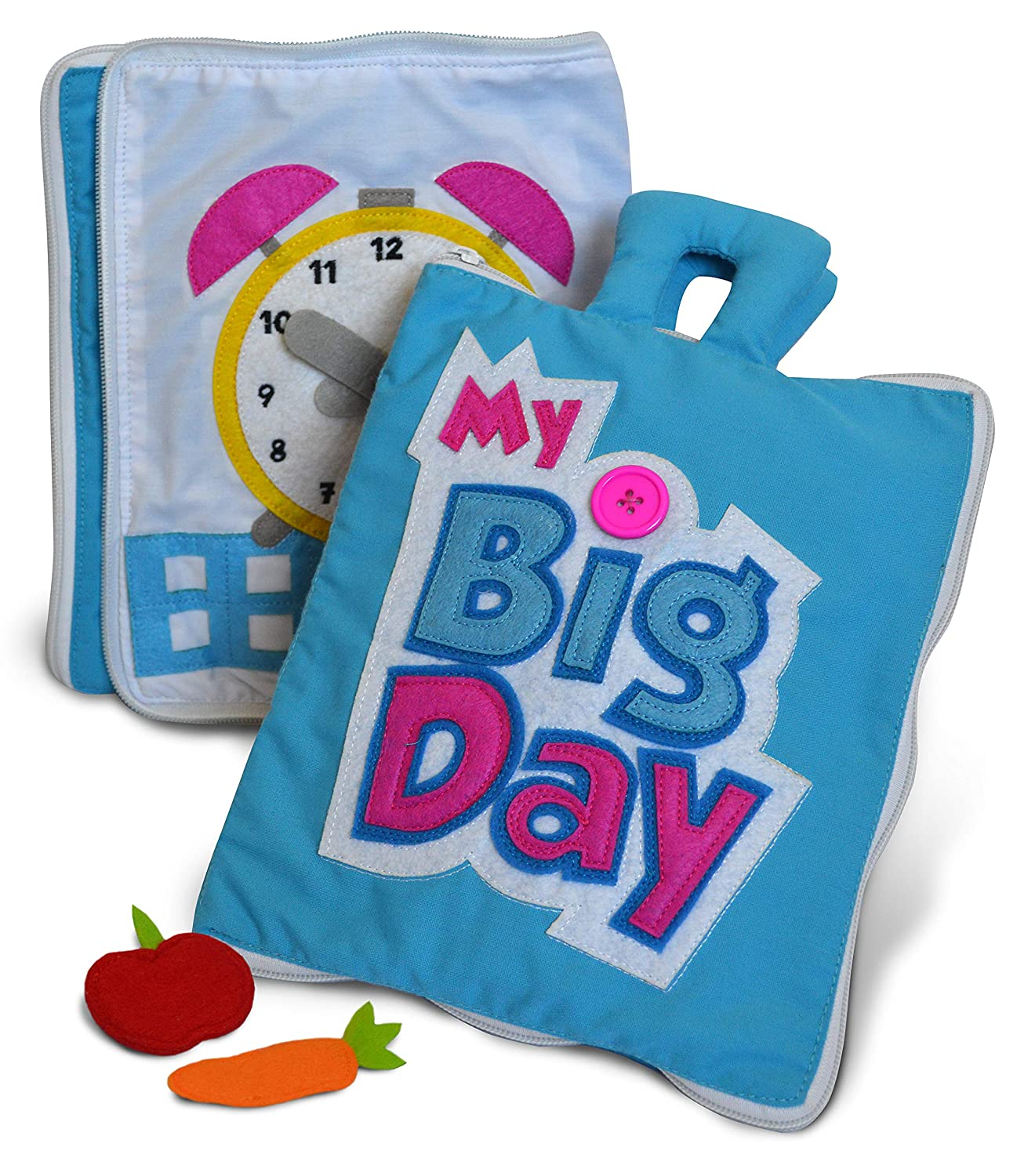 My Big Day Quiet Book By Curious Columbus. Top Rated Educational Toys For Toddlers and Preschool. Best Interactive Sensory Fabric Activity Book for Early Learning Little Red Shepherd