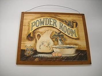 Powder Room Wooden Bathroom Wall Art Sign Bath Decor