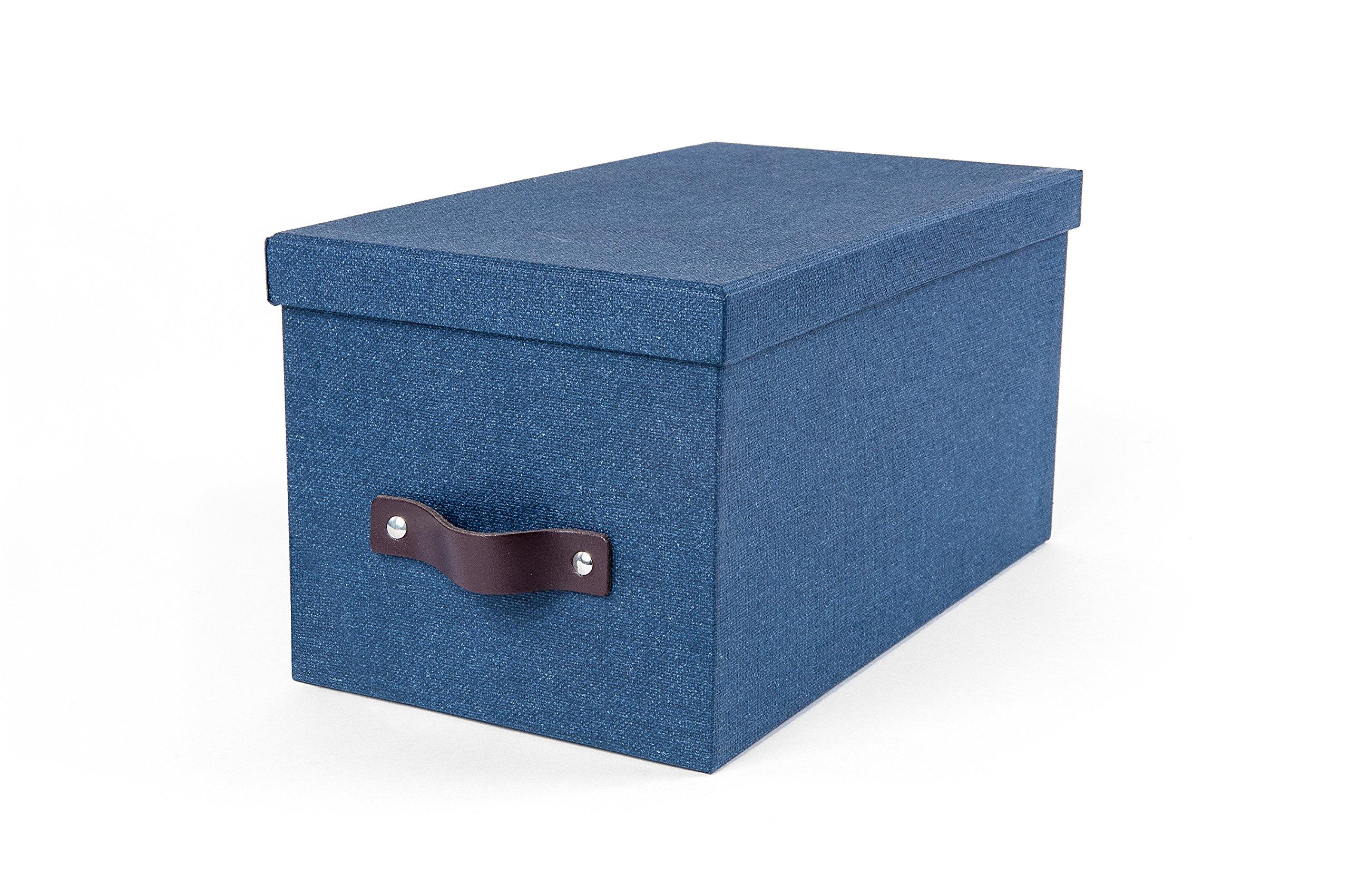 Bigso 5921C38 Silvia Canvas Paper Laminate Media Storage Box, Blue