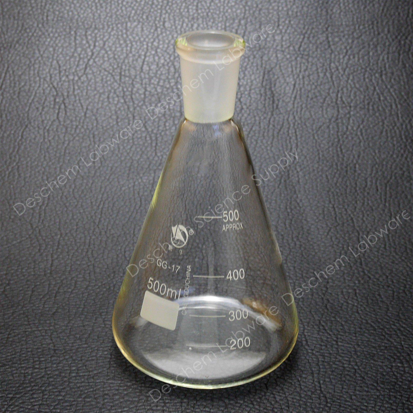 Deschem 500ml,24/40,Glass Erlenmeyer Flask,Ground Joint Conical Bottle,Lab Glassware by Deschem