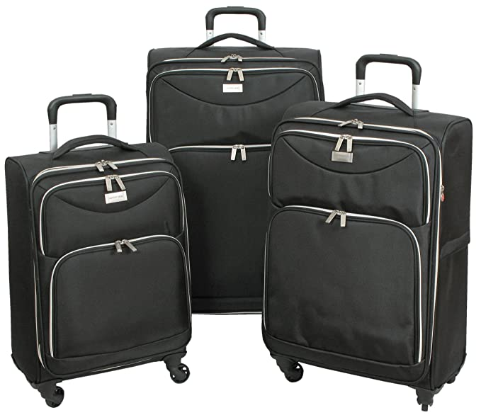 Amazon.com | Geoffrey Beene Ultra Light-Weight Midnight, 3 Piece Set, Black | Luggage Sets