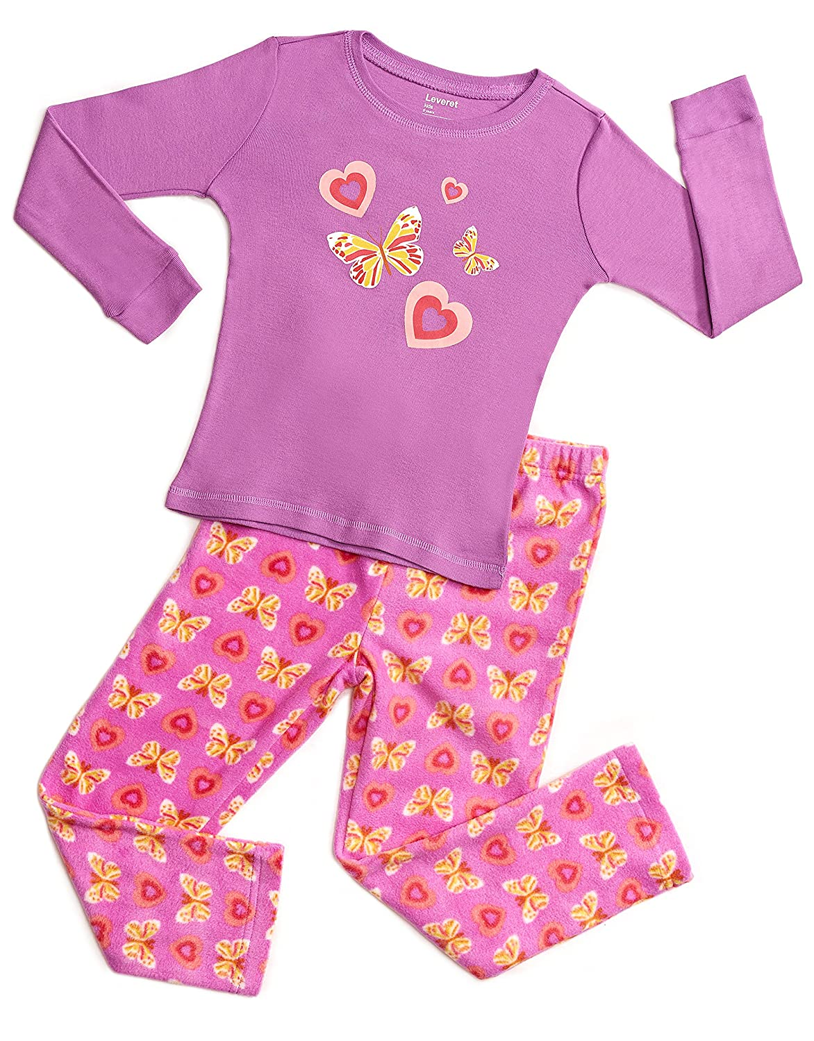 37c9ec098 Amazon.com  Leveret Kids   Toddler Pajamas Girls 2 Piece Pjs Set ...