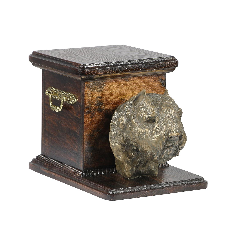 Bouvier des Flandres, memorial, urn for dog's ashes, with dog statue, ArtDog