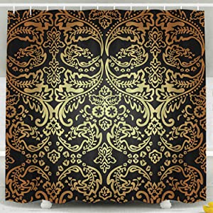 JOOCAR Bathroom Decor Shower Curtain Classic Pattern Background Gold Damask Black Home Curtain Sets with Hooks Polyester Fabric Great Gift