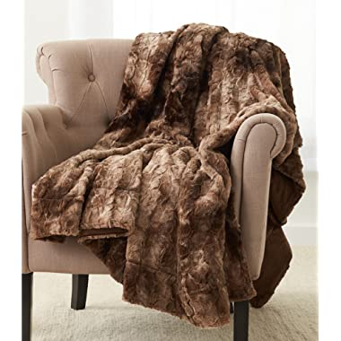 Pinzon Faux Fur Throw Blanket 63  x 87 , Alpine Brown