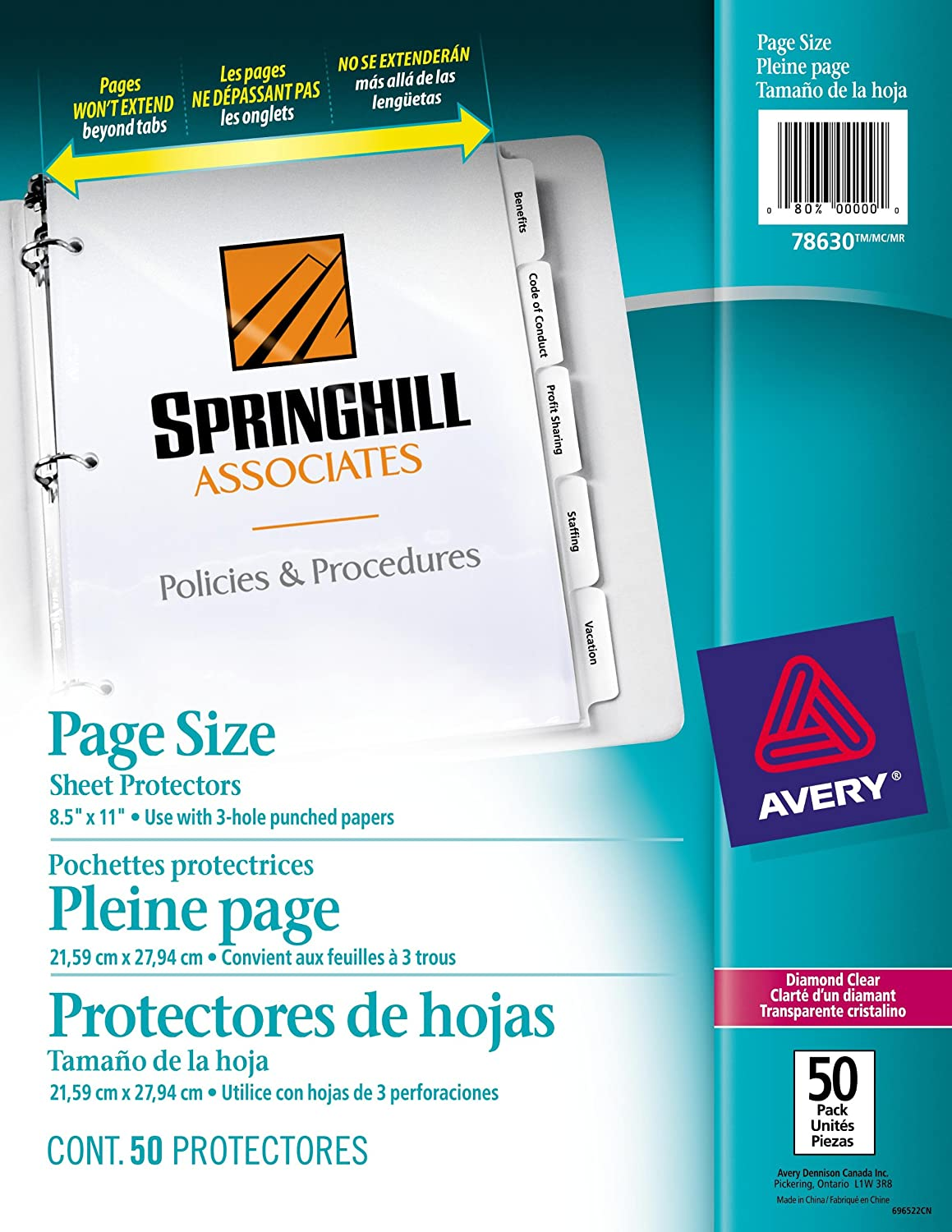 Avery Page Size Sheet Protectors, Diamond Clear, Fits Letter Size -8.5 x 11, 50 Sheets (78630) Avery Dennison CA