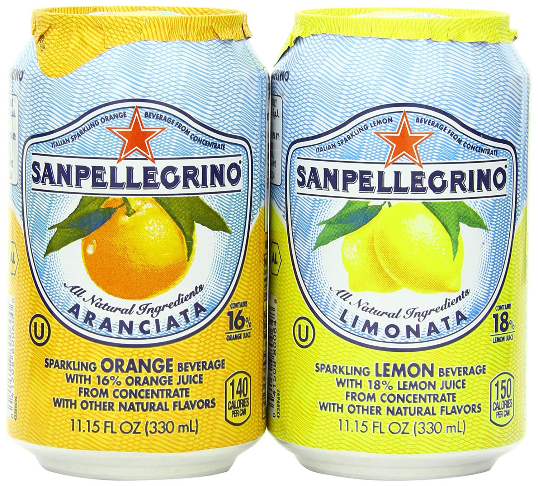 San pellegrino Sparkling Beverage, Lemon, Orange Variety, 11.15 fl. oz., 24 Count