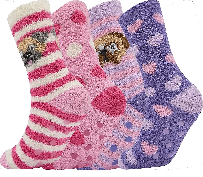 4 Pair Ladies Cosy Soft Fleece Non Slip Slipper LoungeThermal Bed Socks CLASSIC)