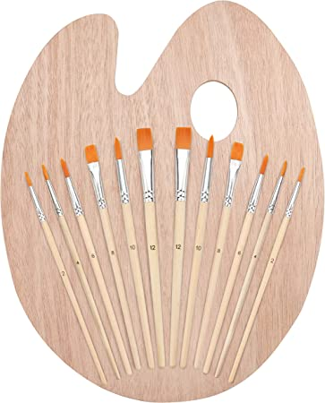 Kurtzy Set de Pinceles y Paleta de Madera (12 Pinceles) y Paleta de Pintura Ovalada para