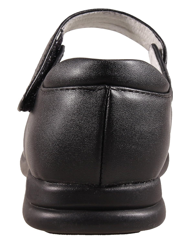 LIYZU Girls Mary Jane Flat School Dress Uniform Shoes Black Strap 18158
