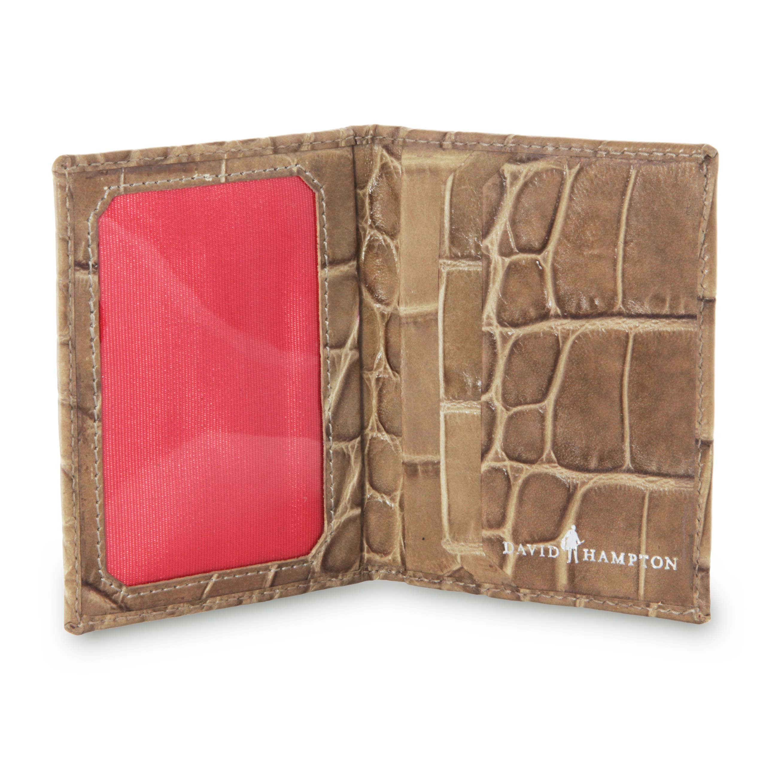 David Hampton Serengeti Crocodile Print Leather Travel Card Holder