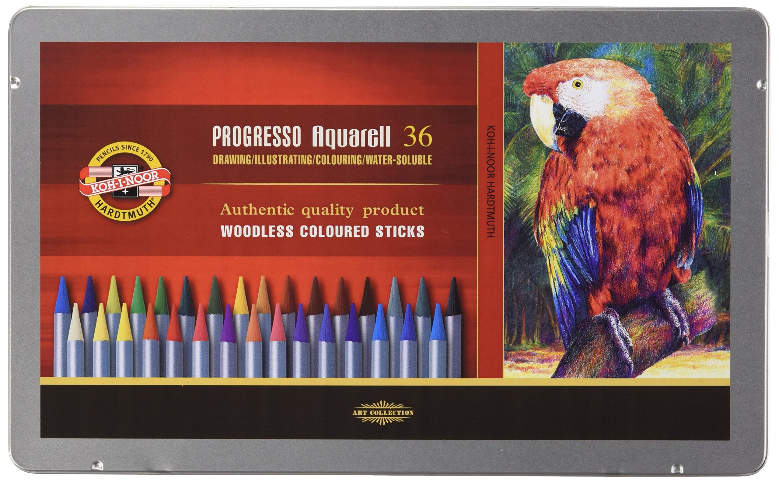 Koh-I-Noor : Progresso : Woodless Watercolour Pencils : Tin Set of 36 by Koh-I-Noor