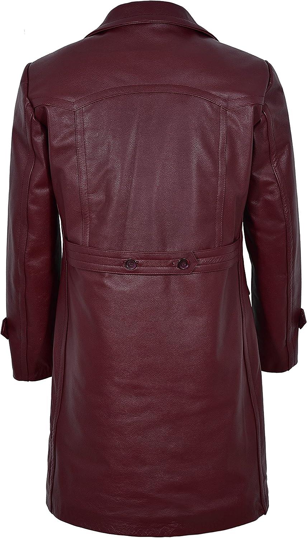 Smart Range Mens WWII German U-Boat Cherry Aniline Cowhide Leather Marine Jacket Coat