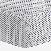 Carousel Designs White and Navy Classic Herringbone Crib Sheet - Organic 100% Cotton Fitted Crib Sheet - Made in The USA