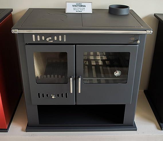 Estufa de leña chimenea de cocina horno cocina de combustible sólido 9 kW Victoria: Amazon.es: Bricolaje y herramientas