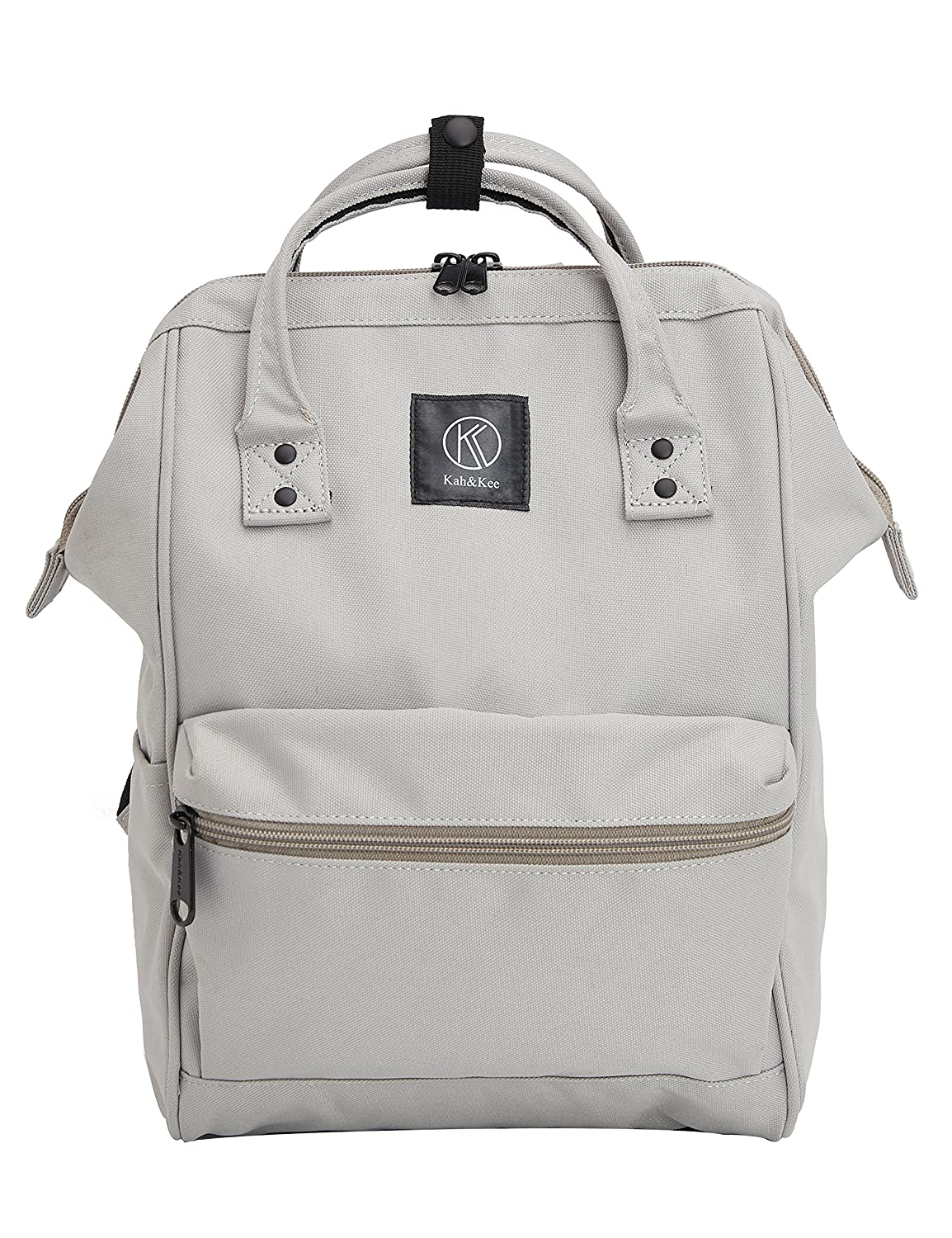 KAH& Kee Polyester Backpack Functional Anti-Theft Travel School Laptop for Men Women (Light Grey*Pink)