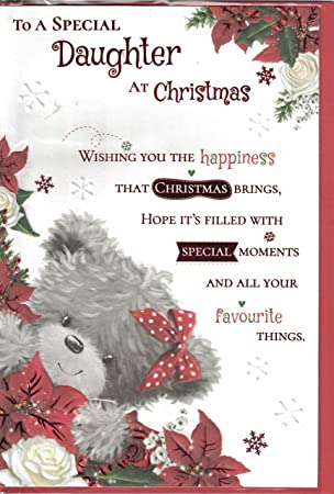 Daughter christmas card to a special daughter happy christmas daughter christmas card to a special daughter happy christmas bear holding xmas rose modern m4hsunfo