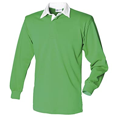 8b7bad209fd47a Front Row Long Sleeve Plain Rugby Shirt Colour:Bright Green/White Size:XL