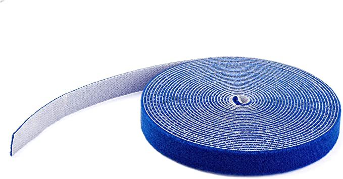 3 Pcs 50FT Roll Hook Loop Self Adhesive Tape Cable Tie Strap Wrap Fastener Blue