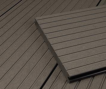 1 Muster I Muster Dielenl/änge 40x60 mm Unterkonstruktion /& Clips I Fl/äche HORI/® WPC-Terrassendiele Grau XXL Massivdiele I Komplettset inkl