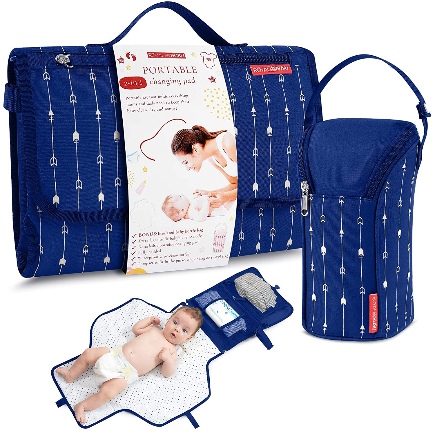 Baby gift. and large diaper pouch Changing mat Waterproof changing mat Travel changing mat set Diaper pouch
