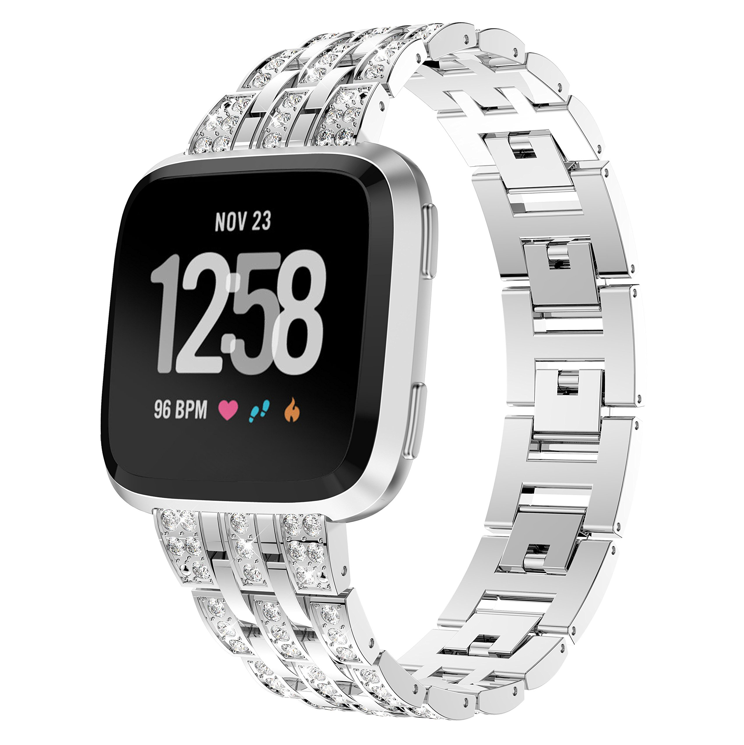 KisFace Metal Band for Fitbit Versa,Rhinestone Series Accessories Quick Release Unit Design for Fitbit Versa Band (Silver).