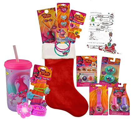 dreamwork trolls girls all inclusive 12pc pre filled christmas stocking plus bonus - Pre Filled Christmas Stockings