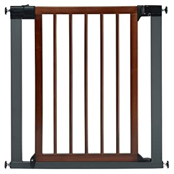 Amazon Com Munchkin Wood And Steel Designer Baby Gate Dark Wood