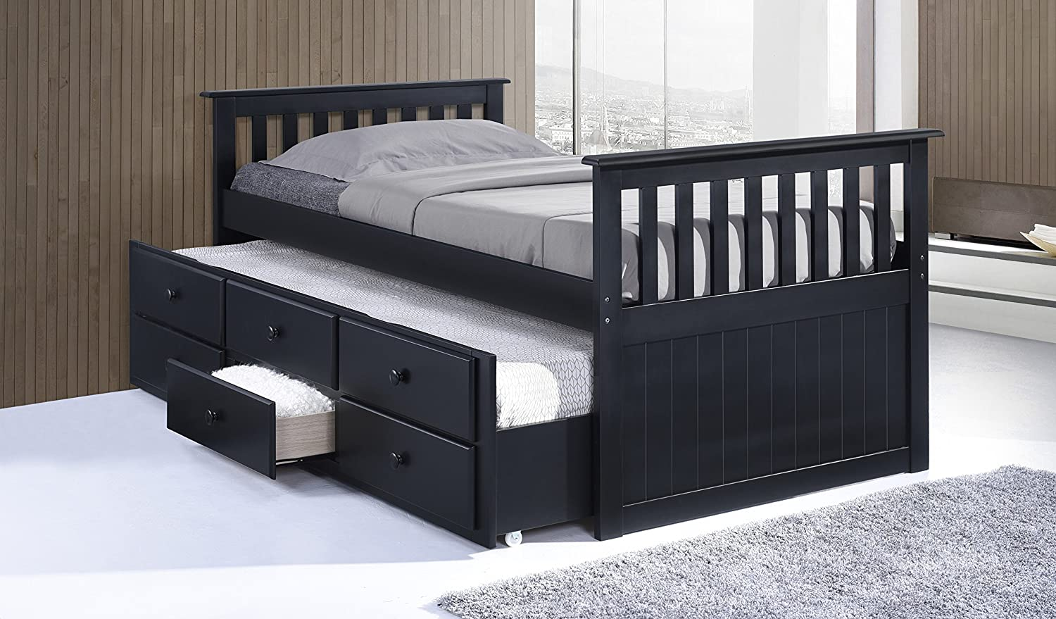 Amazon Broyhill Kids Marco Island Captains Bed With Trundle And Drawers Twin Black Baby