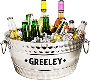 BREKX Personalized Hammered Stainless-Steel Double-Walled Insulated Anchored Bolt Beverage Chiller, Drink Tub & Ice Bucket with Double Hinged Handles, 12 Quarts