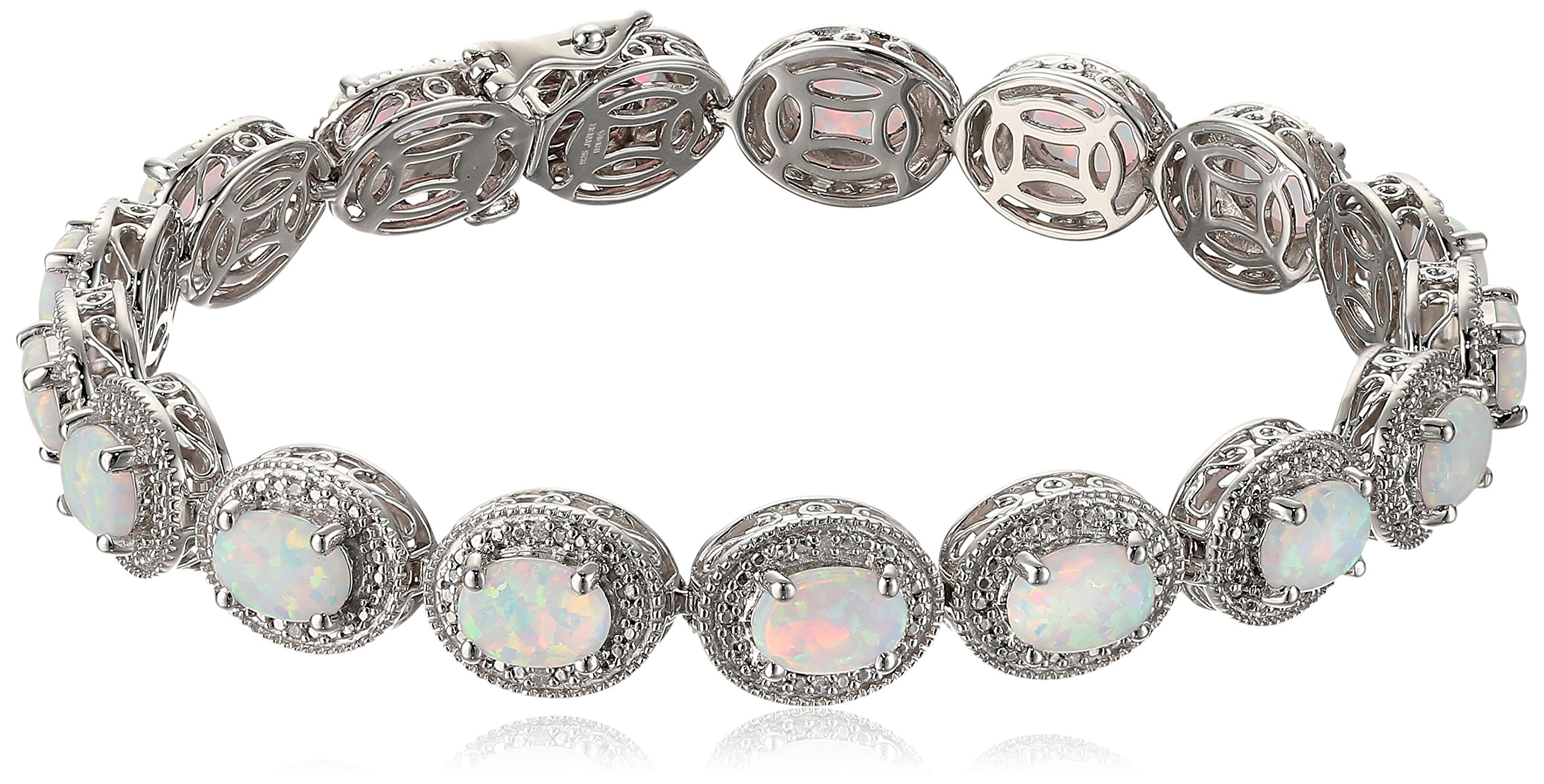 Women's Sterling Silver Created Opal Oval With White Diamond Accent Milgrain Link Bracelet, 7.5 Inches