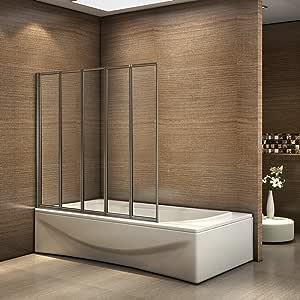 Pared plegable de bañera, Mampara de Cristal para Ducha Cristal 4mm 120x140cm Perfil Cromado: Amazon.es: Bricolaje y herramientas