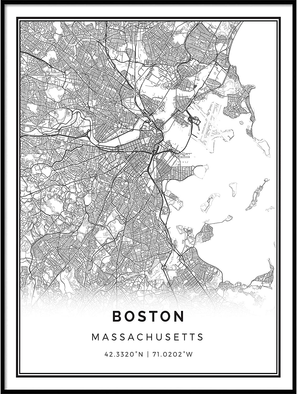 Squareious Boston map Poster Print   Modern Black and White Wall Art   Scandinavian Home Decor   Massachusetts City Prints Artwork   Fine Art Posters 24x36