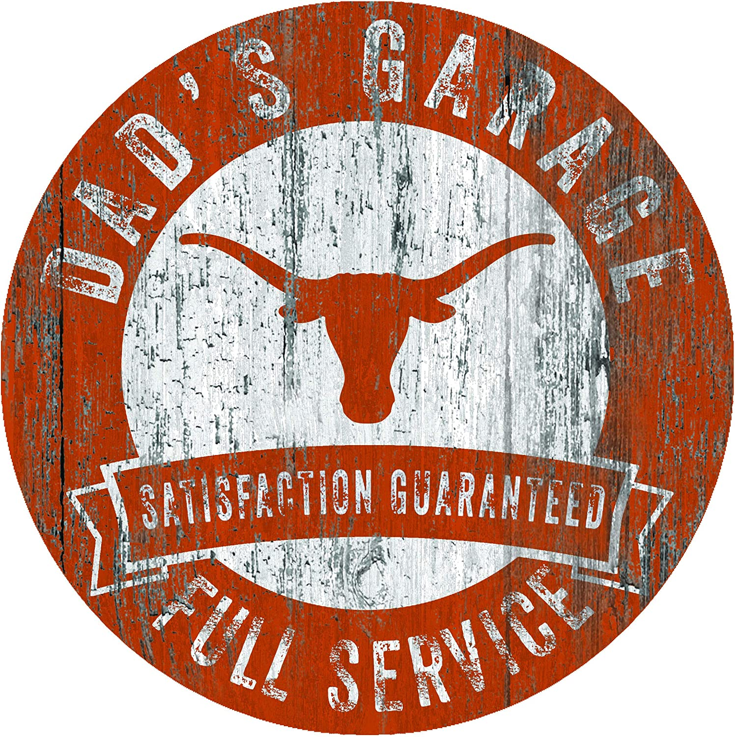 Fan Creations NCAA Texas Longhorns 12 Round Dads Garage Wood Sign