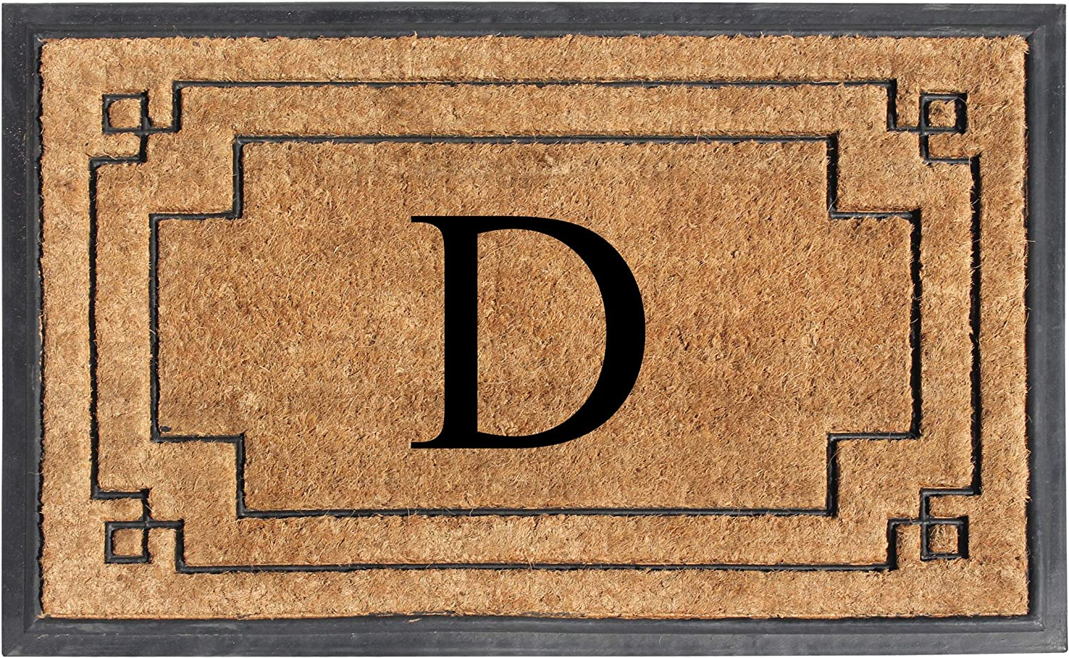 "A1 HOME COLLECTIONS A1HOME200128-D A1HC-Designer Hand-Crafted Rubber & Coir Frame Molded Double Door Mat, Perfect and More Functional Size 24""X36"" Monogrammed, D"