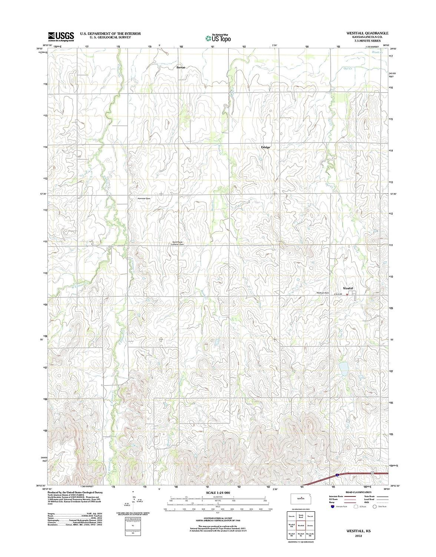 Amazon.com: Topographic Map Poster - Westfall, KS TNM GEOPDF 7.5X7.5 ...