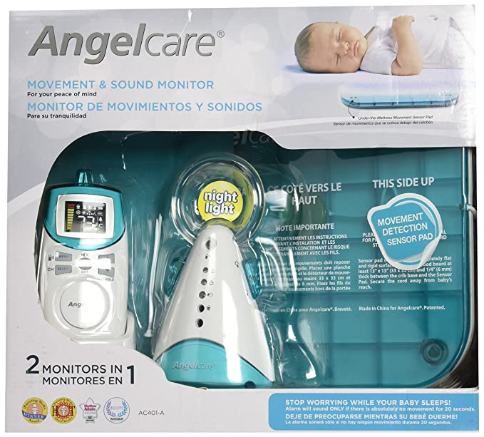 Amazon.com : Angelcare Movement and Sound Monitor, Aqua/White, 2PU : Baby